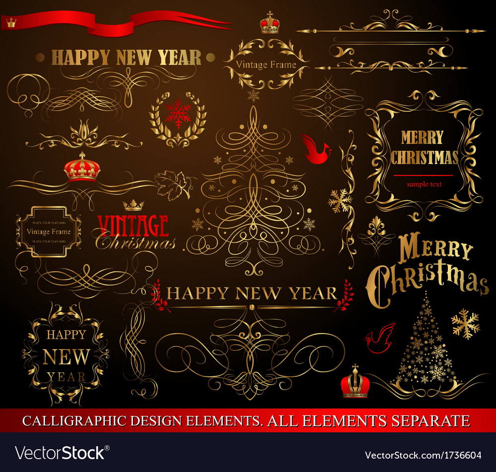 Christmas calligraphic elements