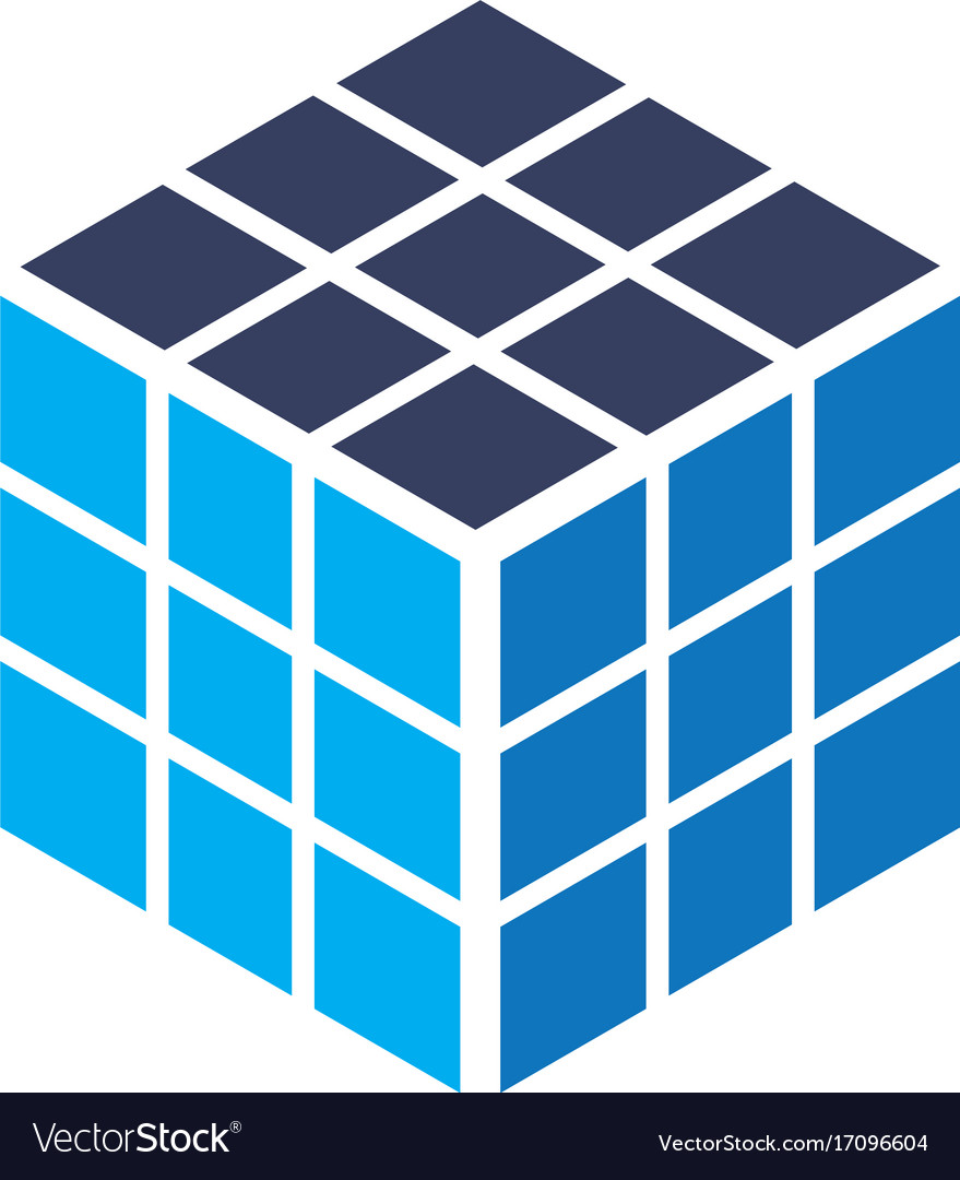 Cube rubik business logo vector image