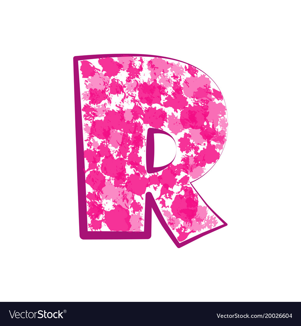 English pink letter r on a white background