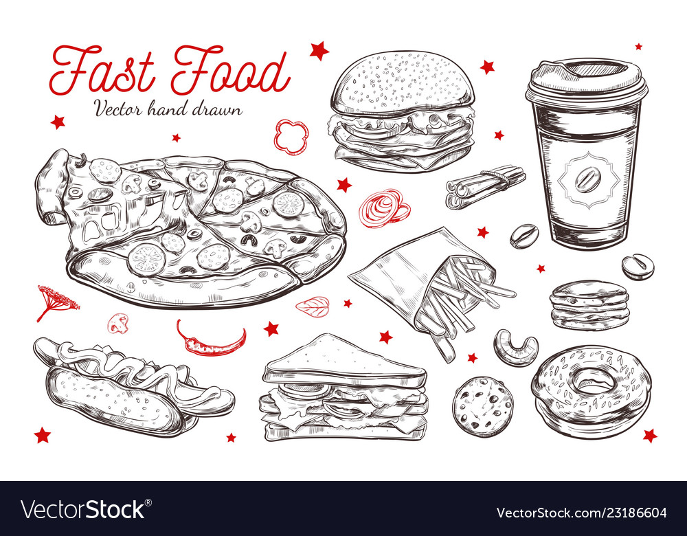 Fastfood dishes with drinks hand drawn