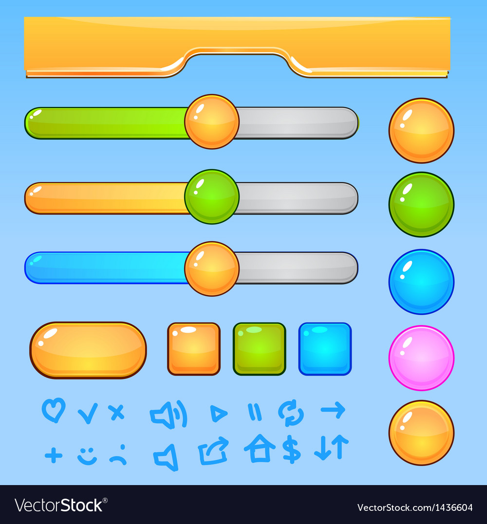 Game UI elementsColorful buttons and icons