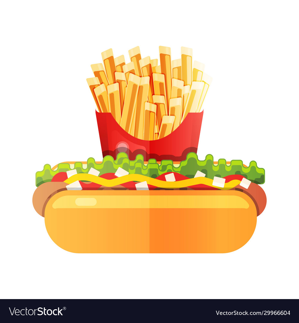 Hotdog with mustard with french fries at the