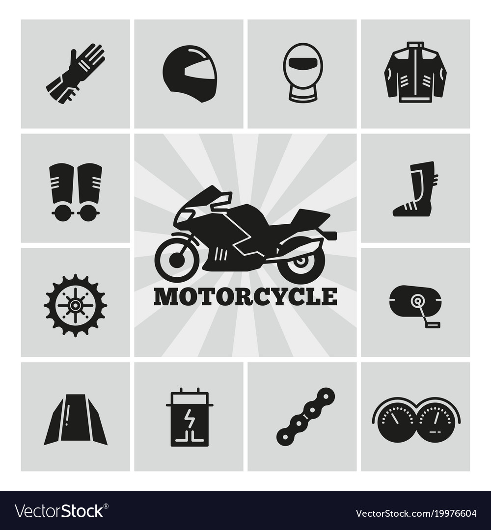 Moto Parts Motorcycle Accessories Silhouette Icons