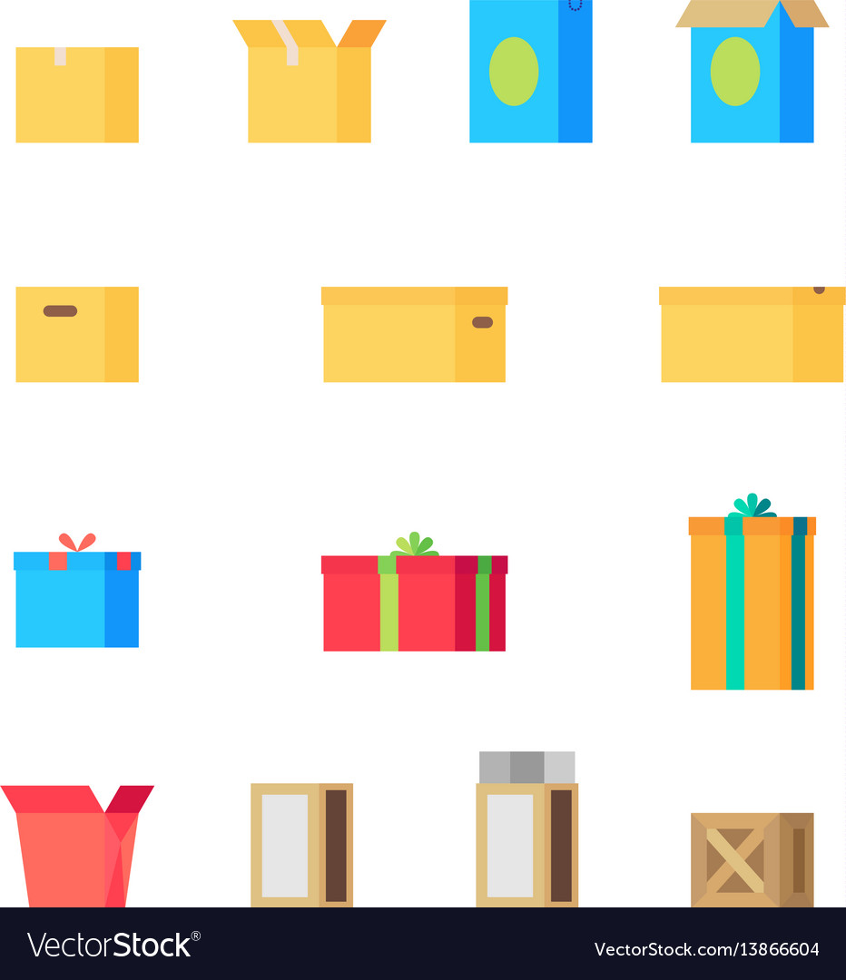 Open and close different colorful boxes set vector image