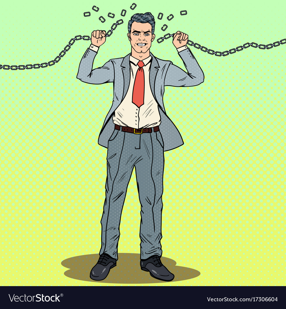 Pop art strong businessman breaks the chains