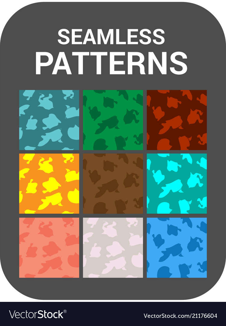 Set of 9 cards seamless patterns