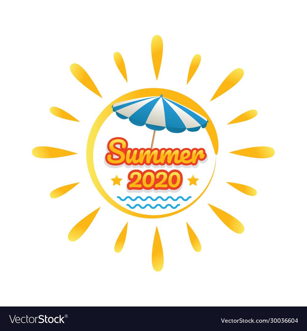 Summer beach banner with sun