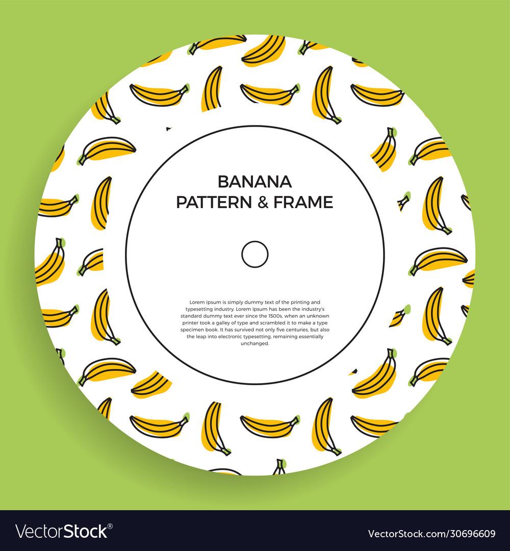 A circle postcard with seamless banana patterns