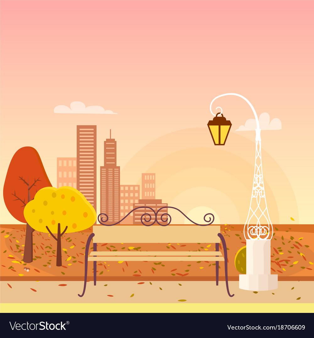 Autumn city park panorama