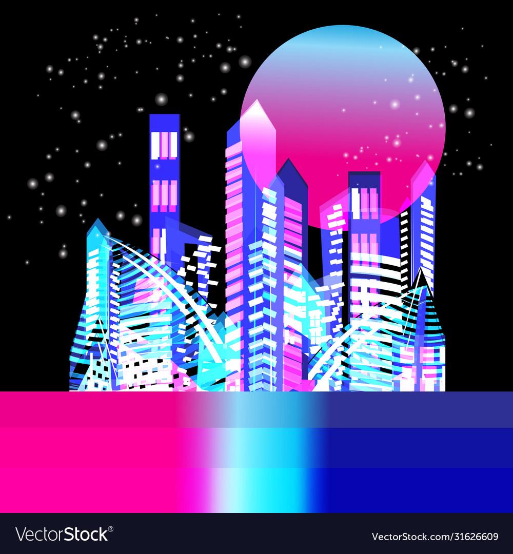 Beautiful trendy illuminated city at night