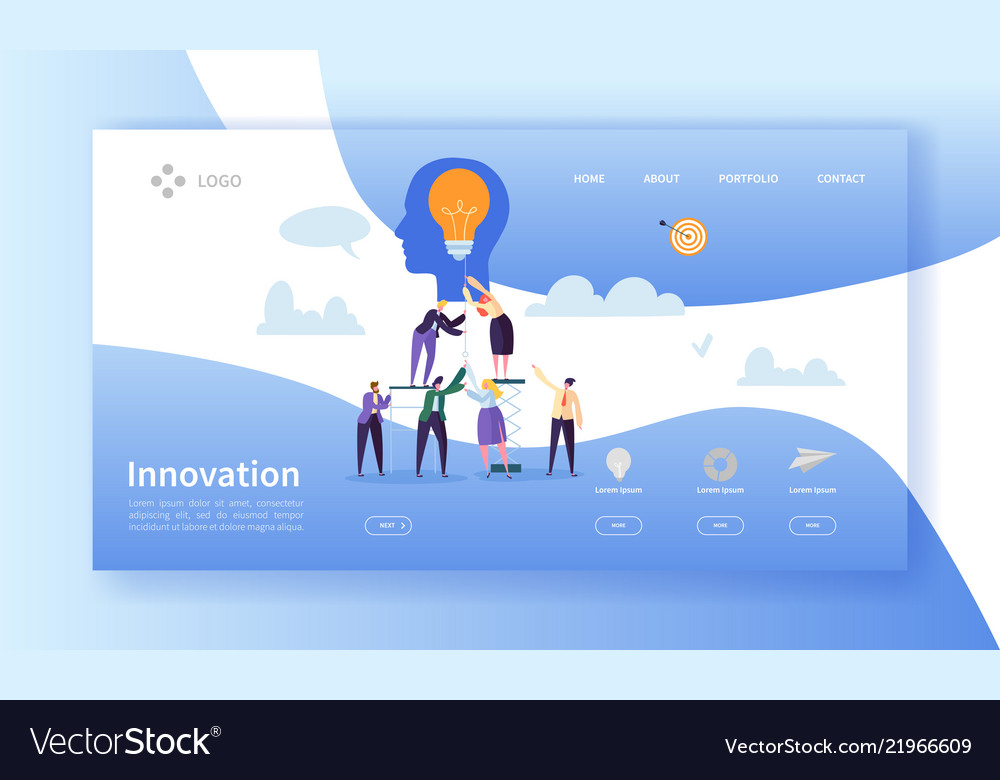Business innovation landing page template idea