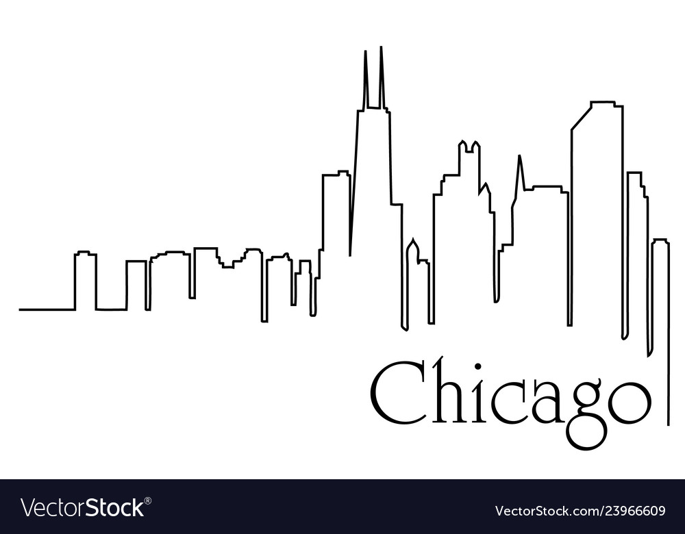 Chicago city one line drawing