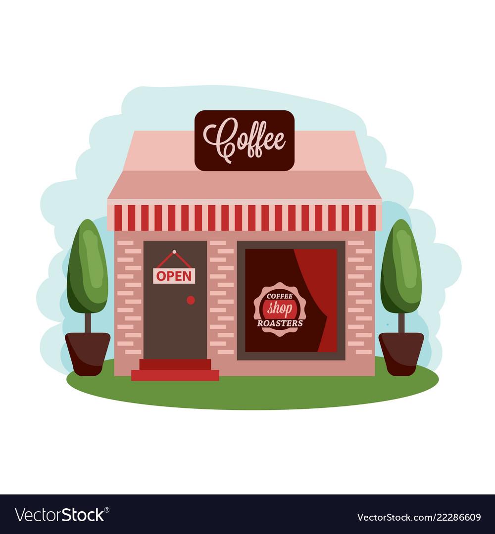 Coffee shop building central cafe building