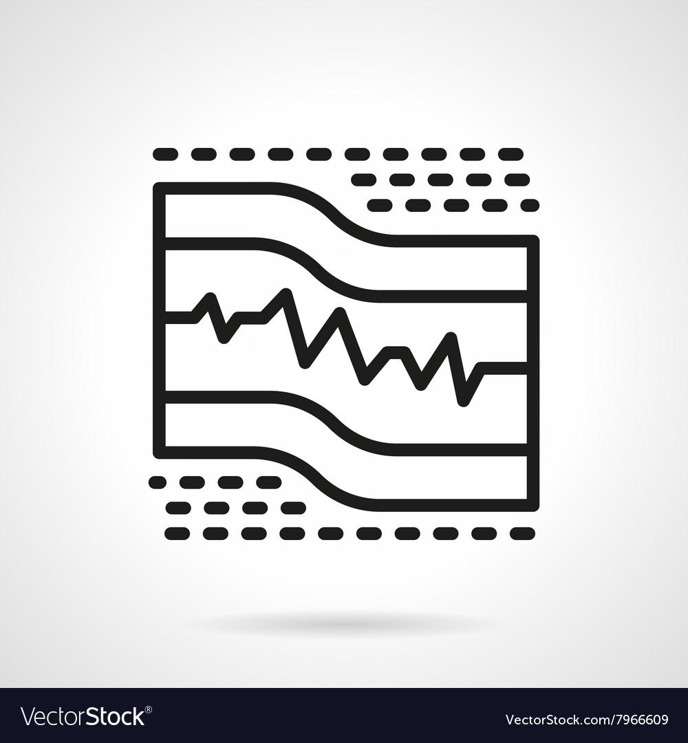 ECG paper black line icon vector image