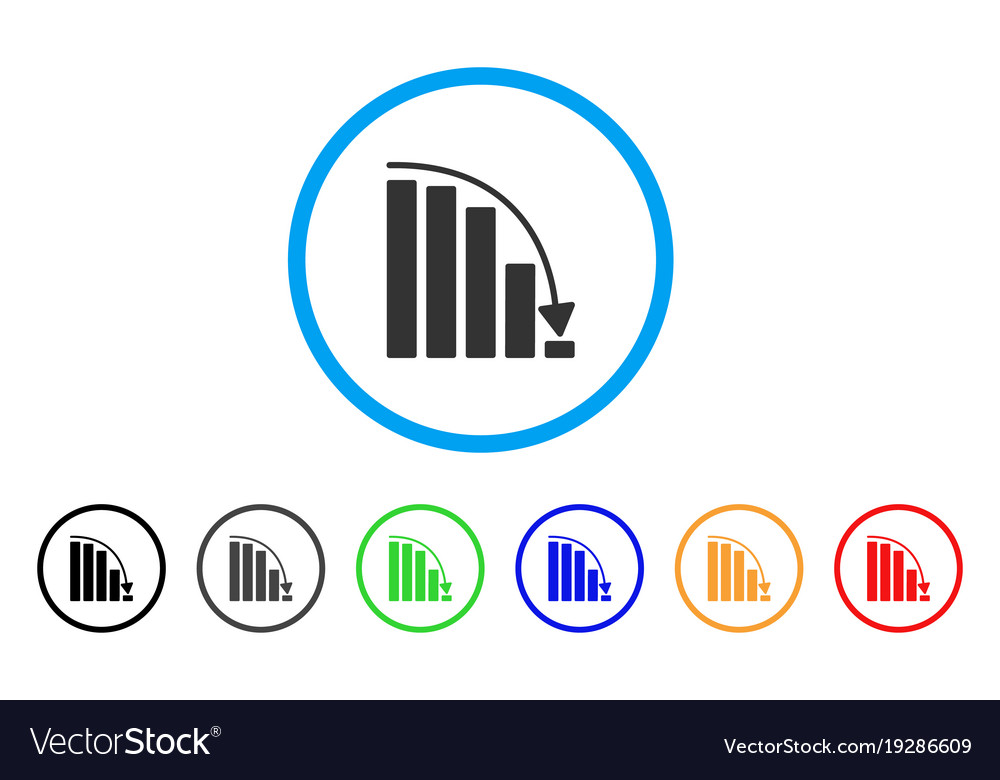 Falling acceleration chart rounded icon