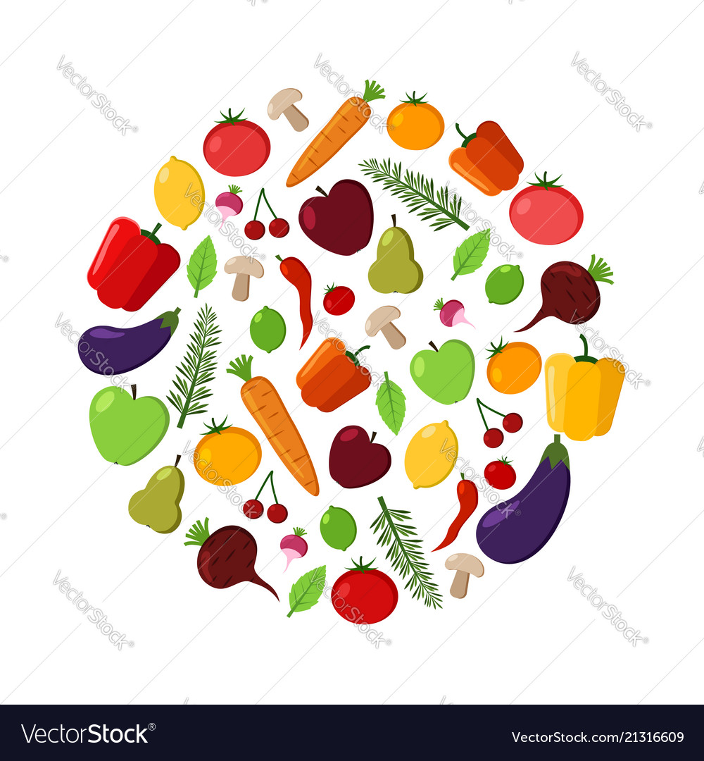 Fruit and vegetable circle on a white background