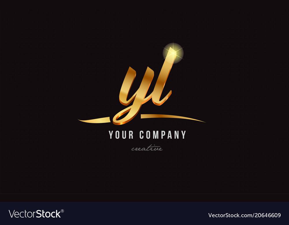 Gold alphabet letter yl y l logo combination icon