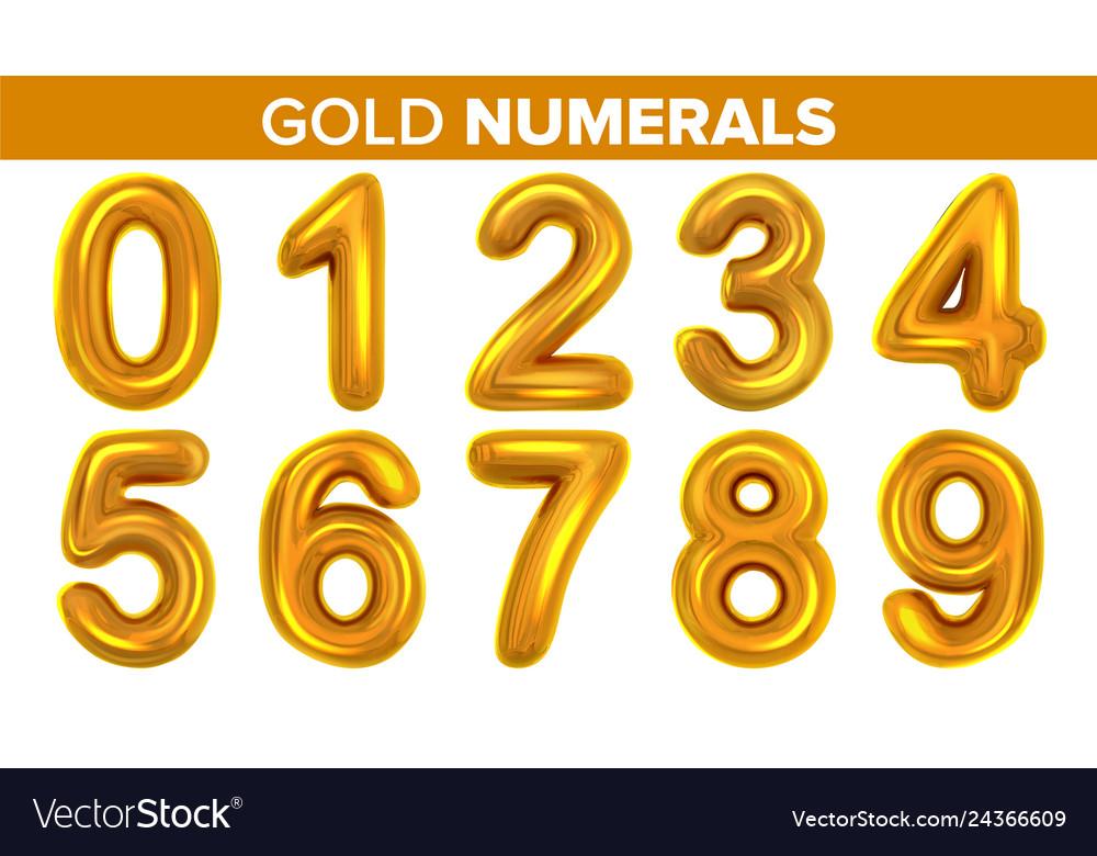 Gold numerals set golden yellow metal