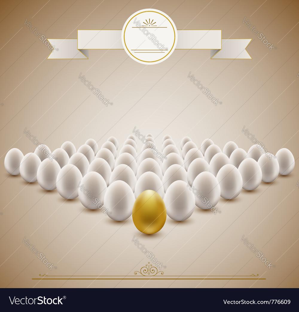 Golden egg concept background vector image