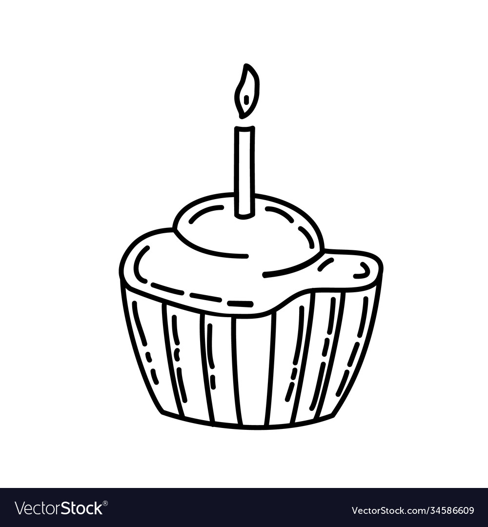 Muffin icon doddle hand drawn or black outline