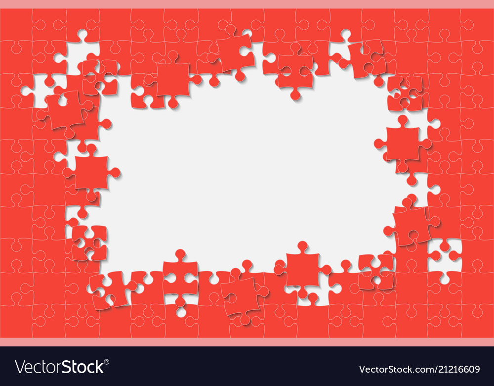 Red background puzzle jigsaw puzzle frame Vector Image