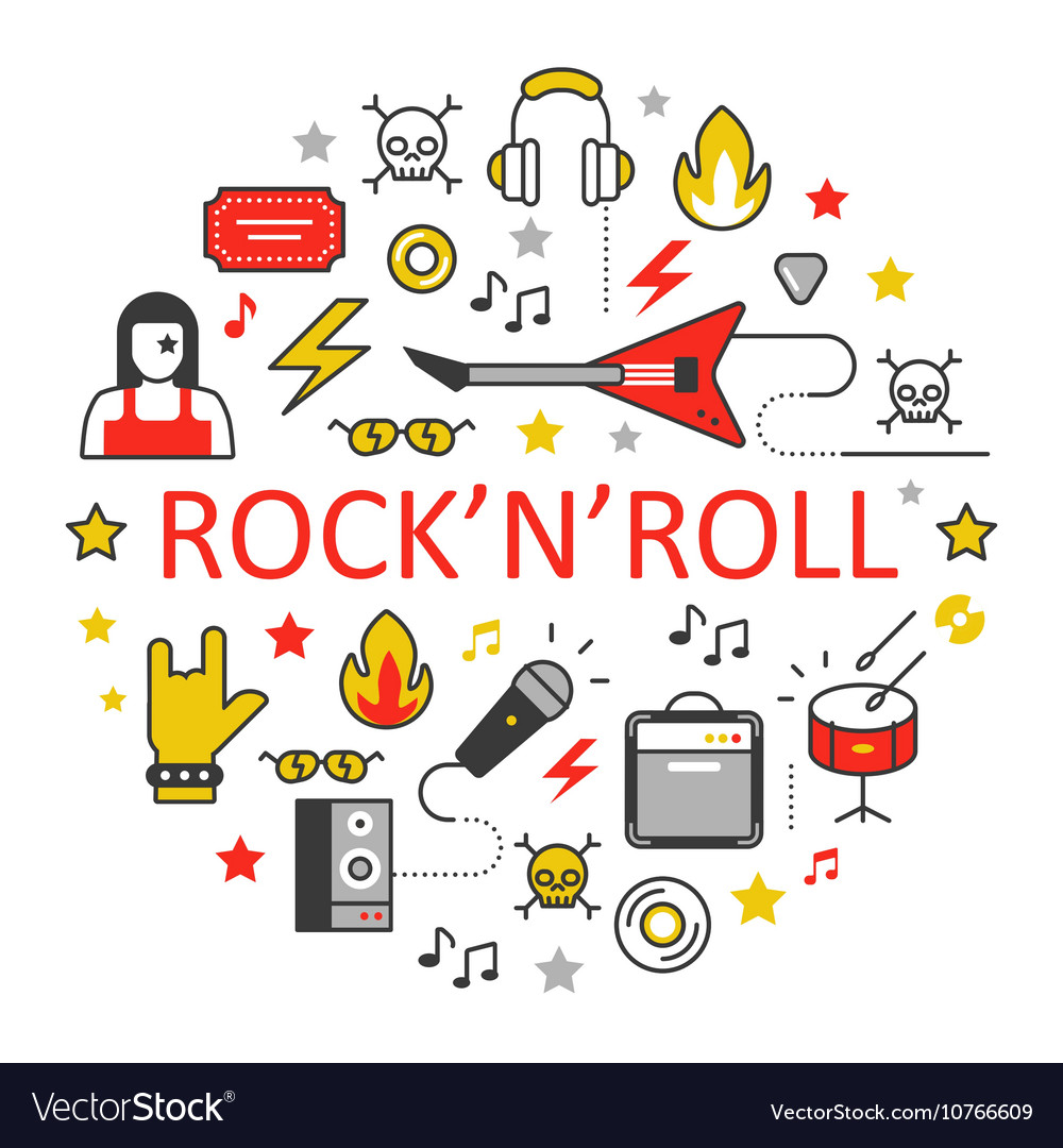 Rocknroll Line Art Thin Icons Set