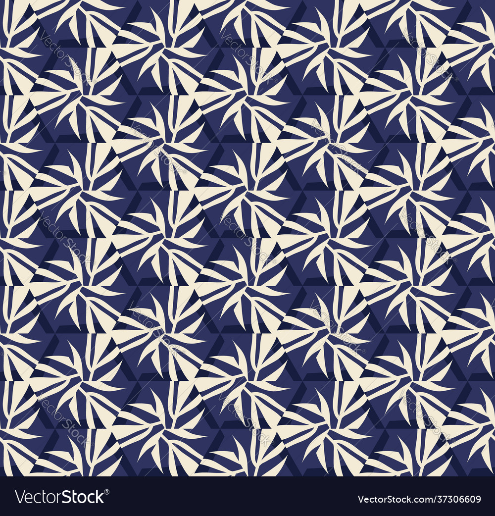 Seamless pattern with stylized tropical leaves