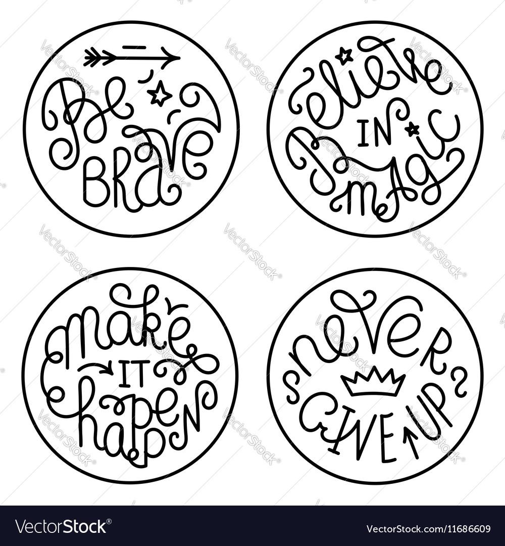 Set of handwritten inspirational quotes