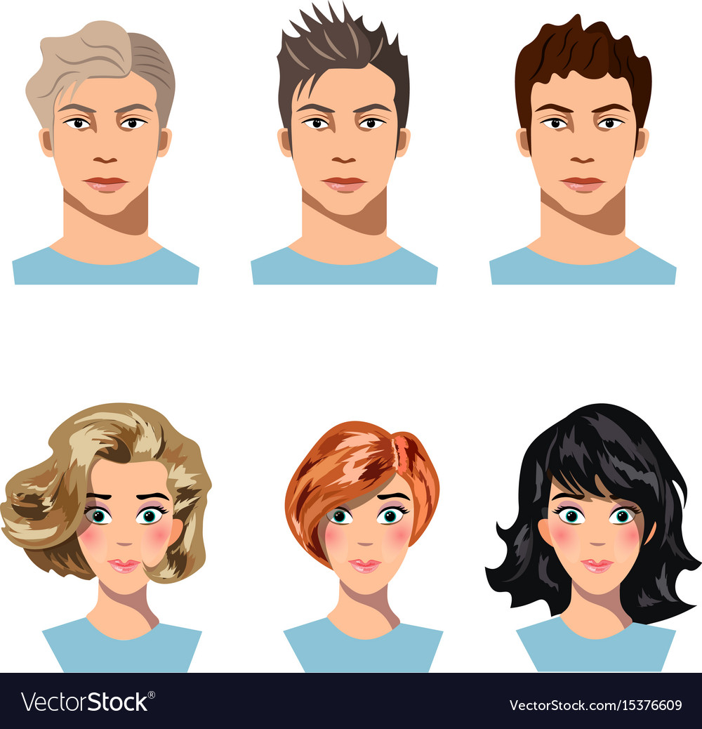Set of men and women in different hair
