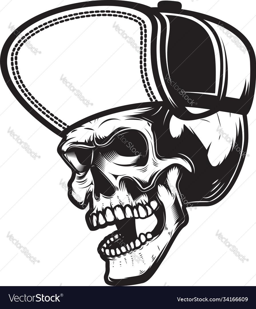Skull in baseball cap in monochrome style design