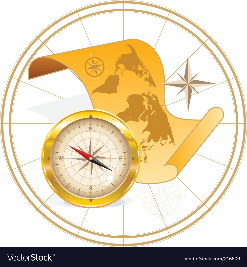 World Map And Compass Royalty Free Vector Image