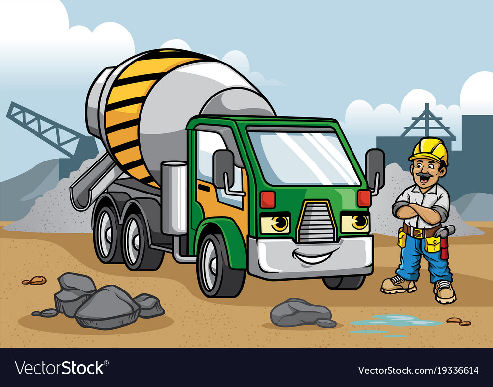cement truck on construction site royalty free vector image
