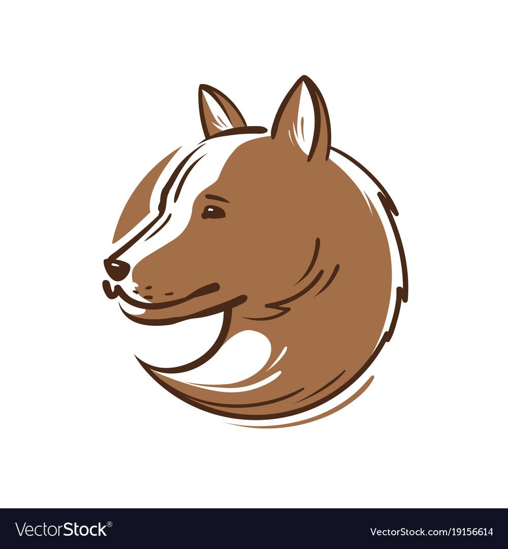 Dog Logo Or Icon Animal Pet Puppy Wolf Emblem Vector Image