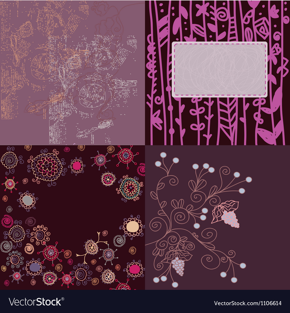 Floral backgrounds set hand drawn vector image