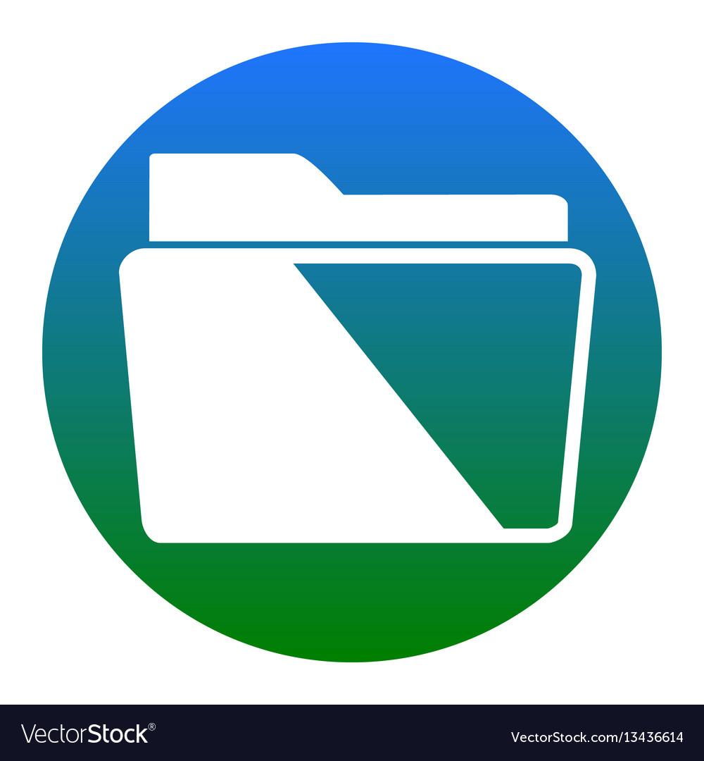 Folder sign white icon in