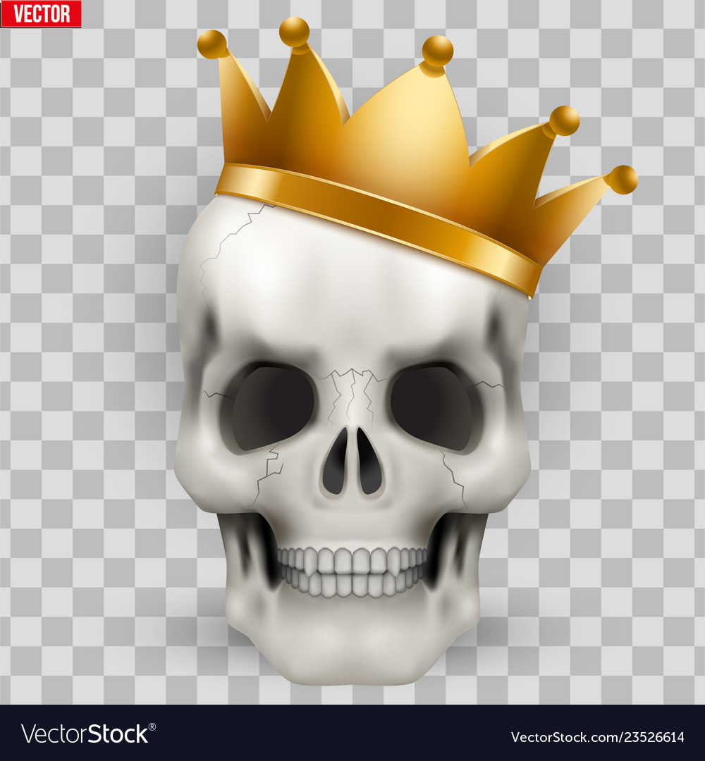 Human skull with king golden crown