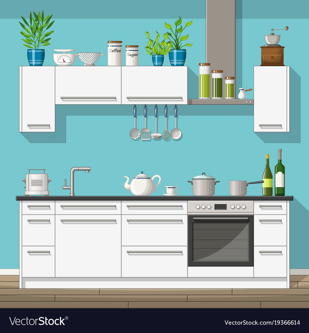 Interior equipment of a modern kitchen Royalty Free Vector
