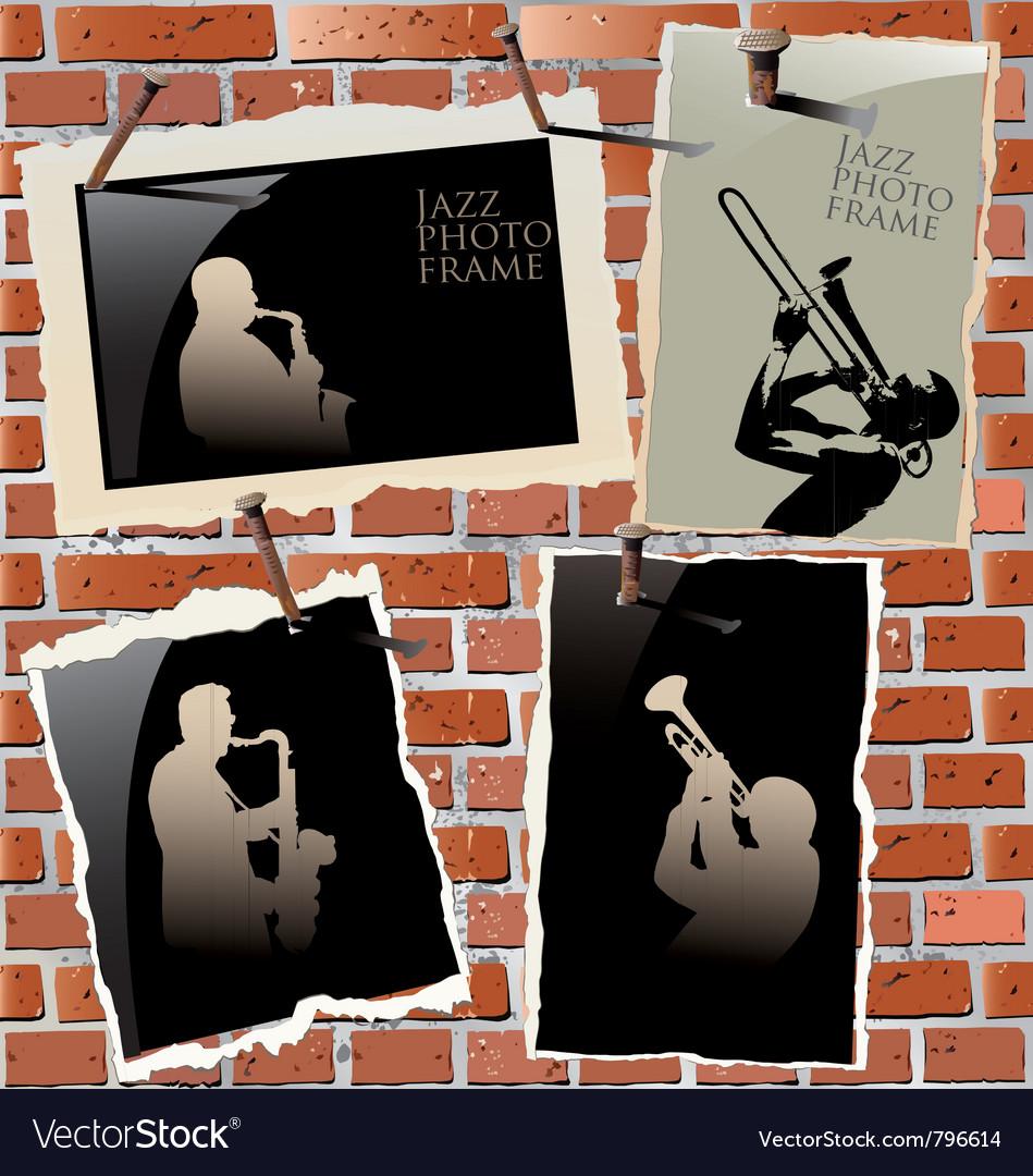 Jazz - photo frames on brick wall