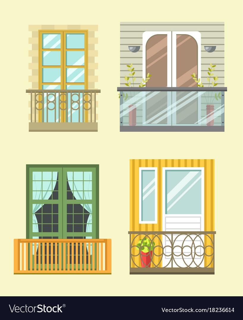 european style windows steel window nice tall broad windows in european style vector image