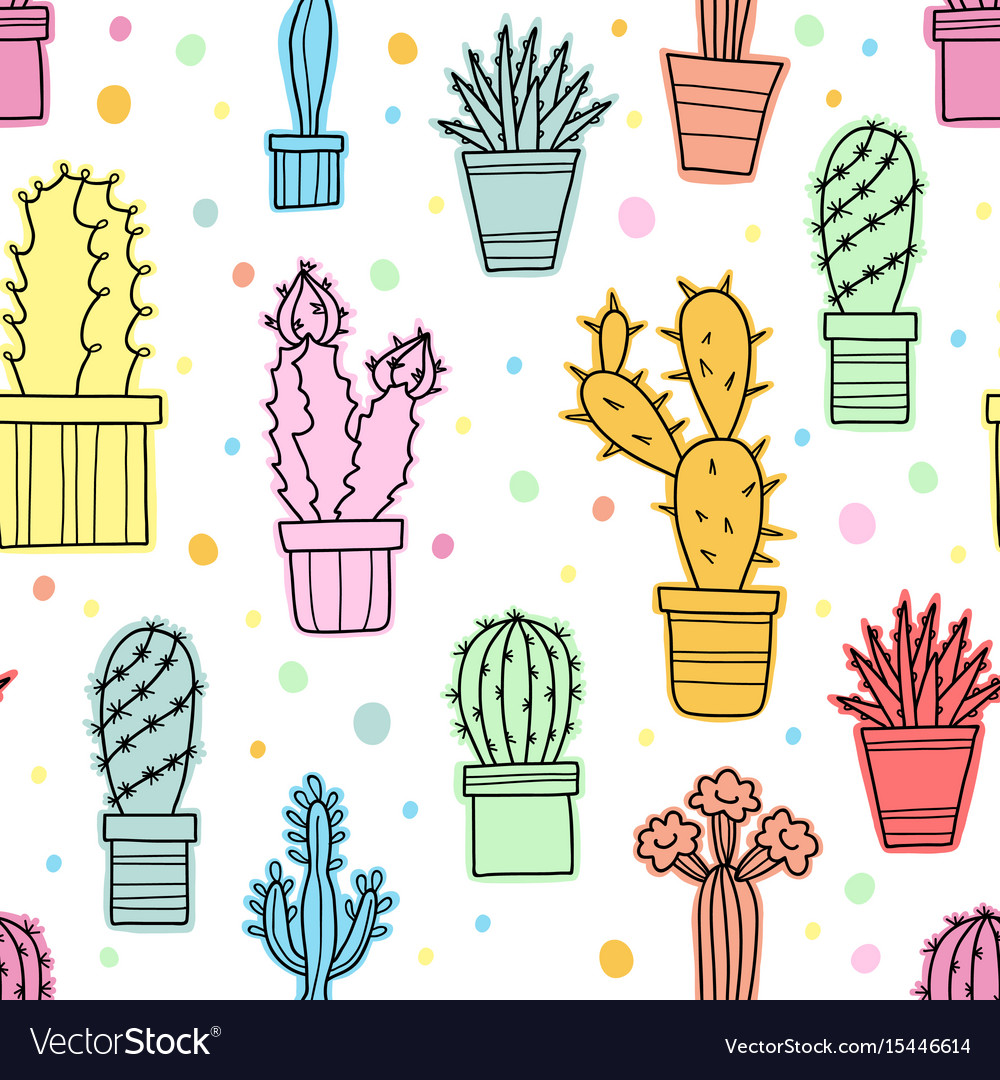 Seamless pattern of green cacti and plants vector image