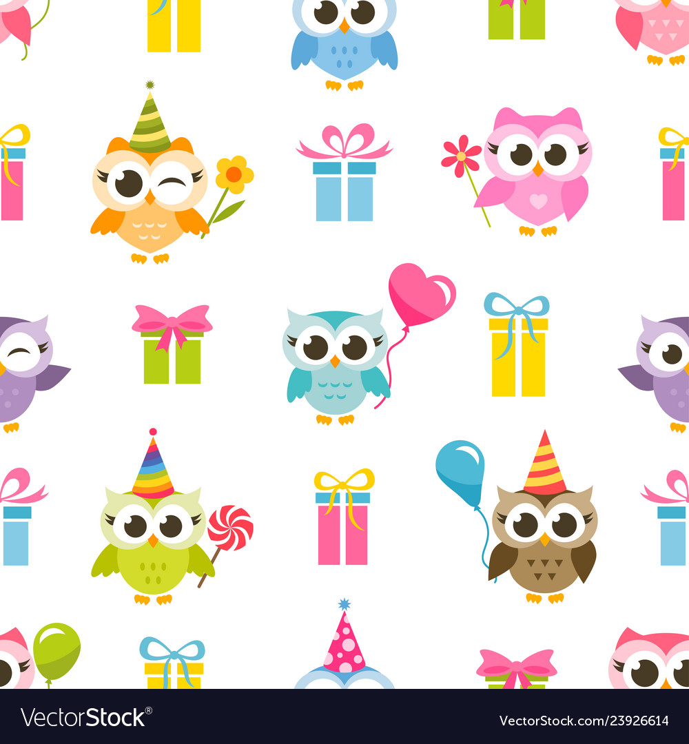 Seamless pattern with colorful owls and gifts