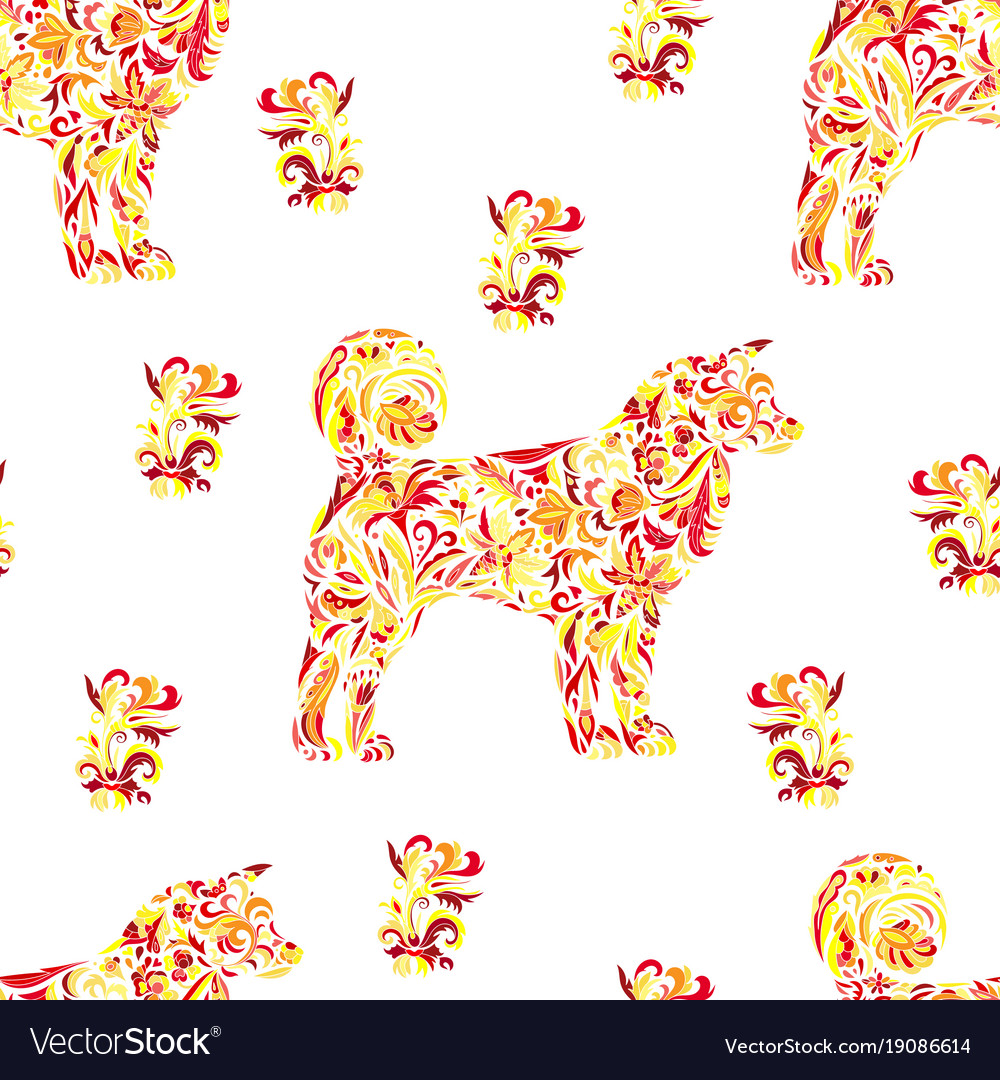 Seamless pattern with dogs on zentangle style vector image