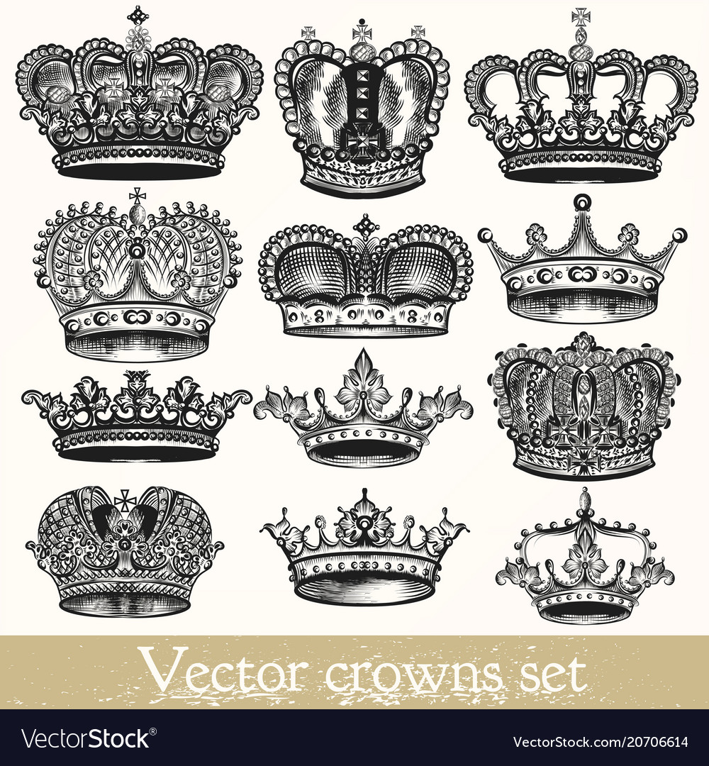 Set of hand drawn crowns in vintage style