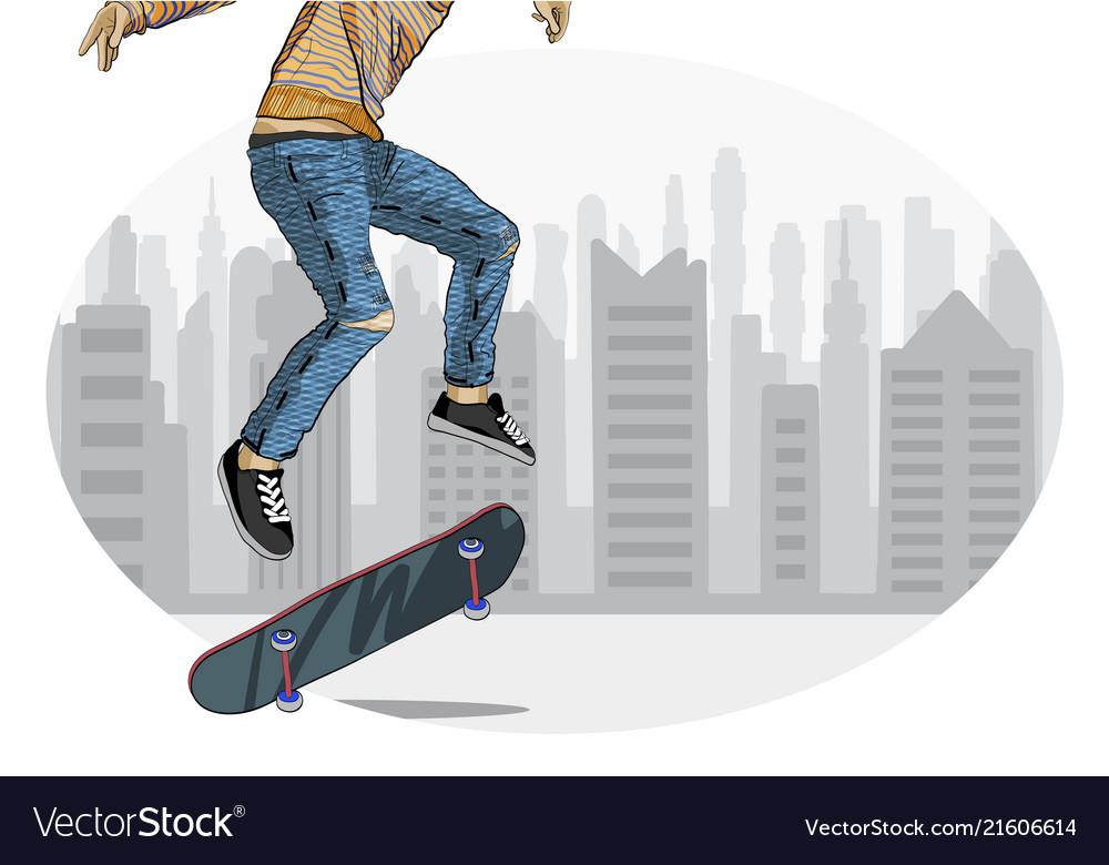 Skateboarder performing trick
