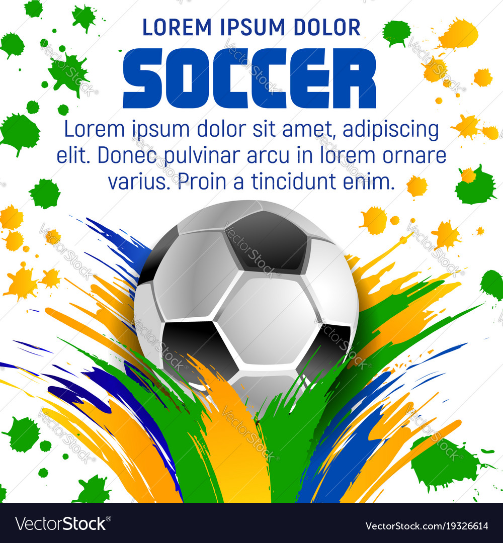 Soccer Ball Poster For Football Sport Tournament Vector Image