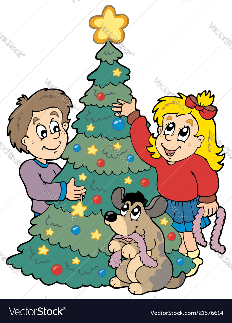 Two Kids Decorating Christmas Tree Royalty Free Vector Image