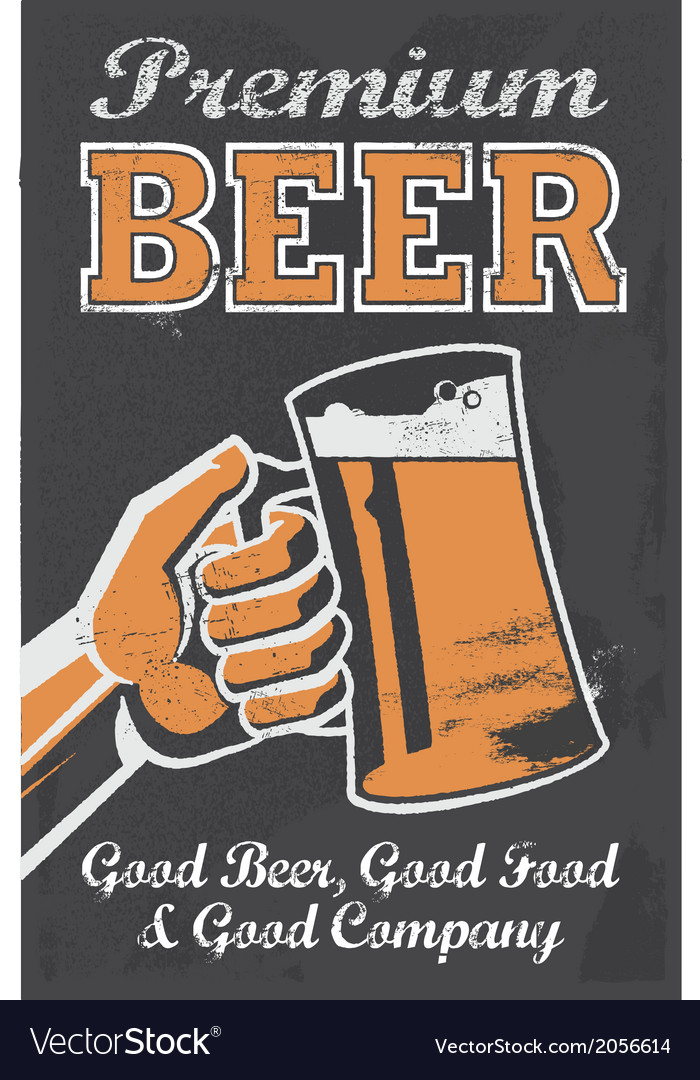 Vintage style Chalkboard beer sign vector image