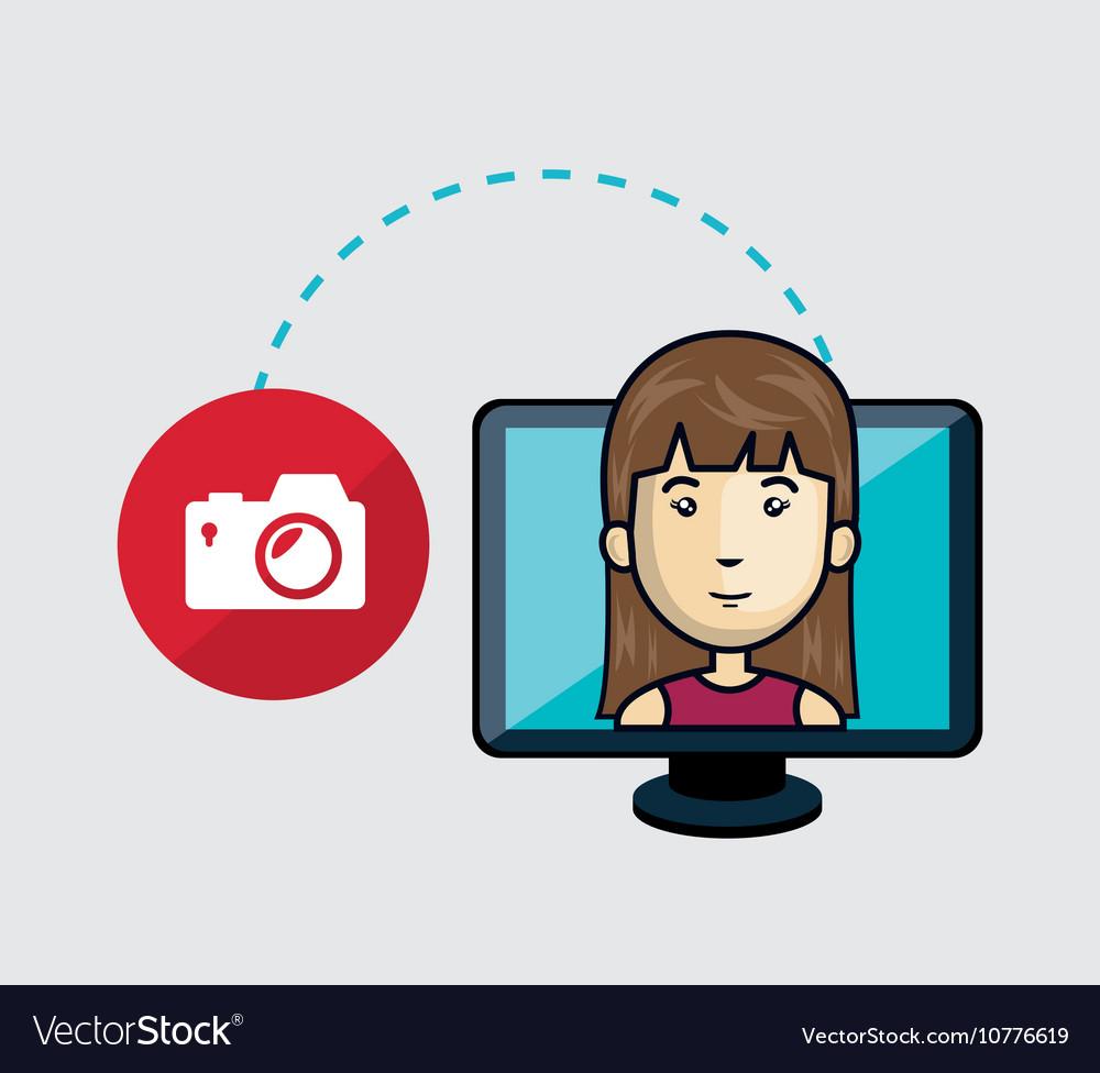 Avatar woman and computer monitor