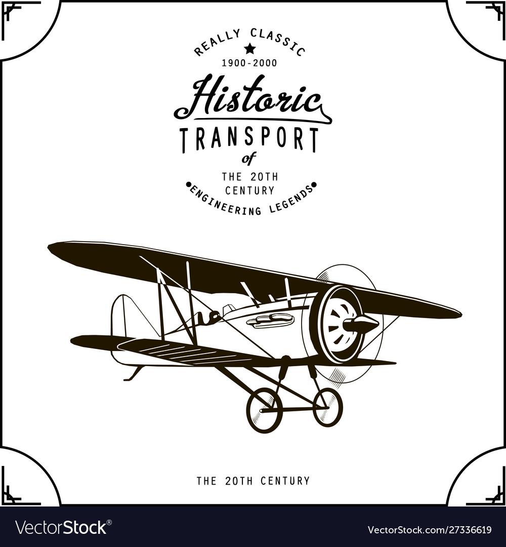 Black old airplane in frame vintage biplane