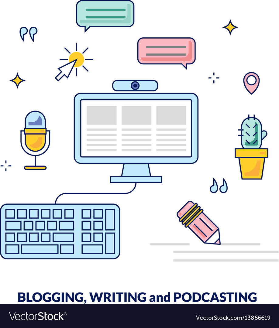 Blogging podcasting and writing content banner